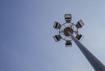 illuminate: Electricity post to illuminate the park at night. Stock Photo