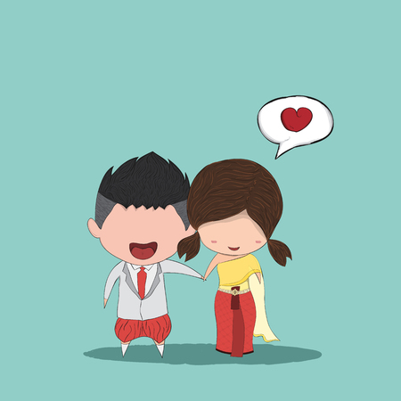 funny love: Cute cartoon Wedding couple men and women for thai dress, drawing by hand vector and digital illustration created without reference image. Illustration