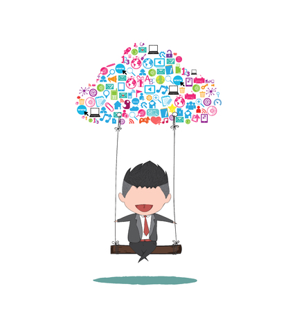 genial: Cute business man happy swinging on a cloud with social network icons background.