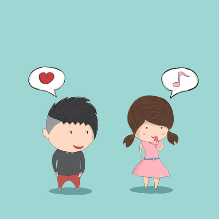 secretly: Cute cartoon boy and girl couple in love and secretly like, cute Valentines Day card, drawing by hand vector and digital illustration created without reference image.