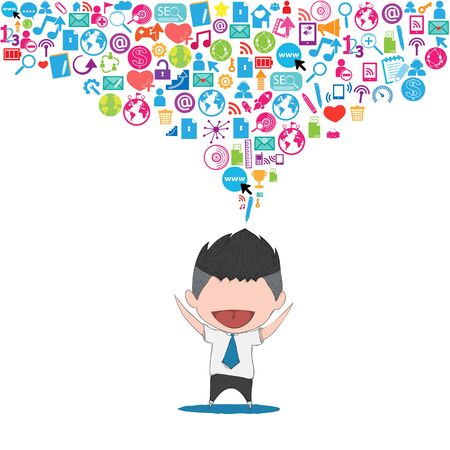 teenager: Businessman happy template design thinking idea with social network icons background. Illustration