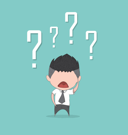 question marks: Confusing cute business man with question marks above his head, drawing by hand vector and digital illustration created without reference image.