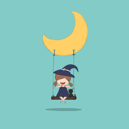 stupid body: Cartoon witch holding swinging on a moon cute halloween, drawing by hand vector and digital illustration created without reference image.