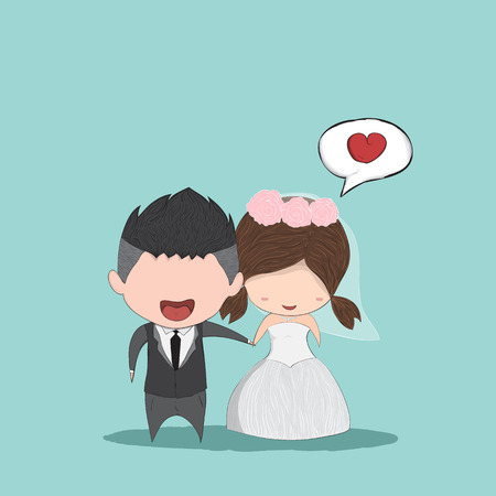 Cute cartoon Wedding couple men and women, cute Valentine's Day card, drawing by hand vector and digital illustration created without reference image.