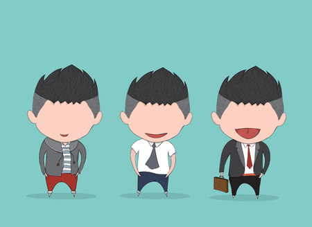Businessman happy between level up position job. drawing by hand vector and digital illustration created without reference image. Illustration
