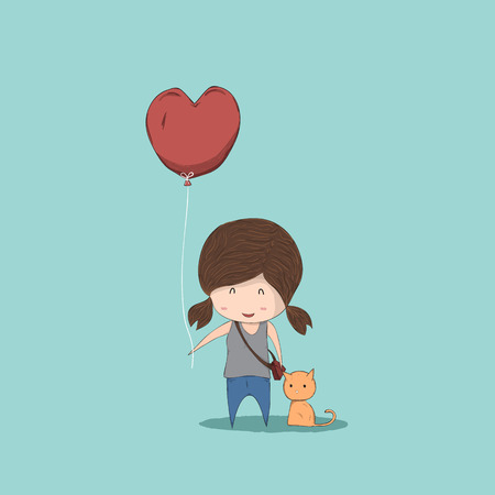 reference: Cute cartoon girl holding heart-shaped balloons and cat, cute Valentines Day card, drawing by hand vector and digital illustration created without reference image. Illustration