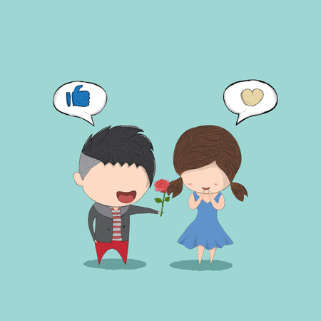 girl cute: Cute cartoon boy give rose girl, cute Valentines Day card, drawing by hand vector and digital illustration created without reference image.
