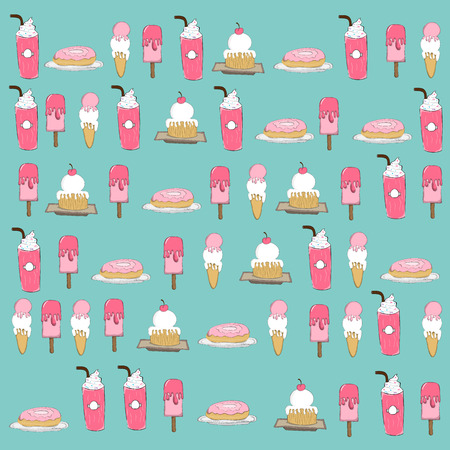 reference: ice cream and donuts background. drawing by hand vector and digital illustration created without reference image.