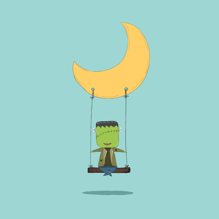 cartoon frankenstein: October 16, 2015 Cartoon Frankenstein swinging on a moon, drawing by hand vector and digital illustration created without reference image. Illustration