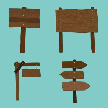 wooden boards: wooden boards label set vector illustration isolated, drawing by hand vector and digital illustration created without reference image.