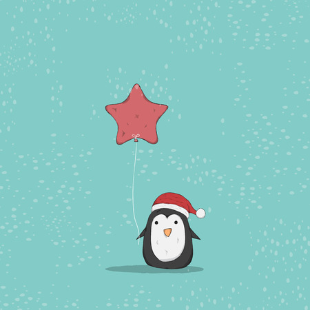 group of animals: Penguin cute christmas character. Vector illustration, drawing by hand vector and digital illustration created without reference image.