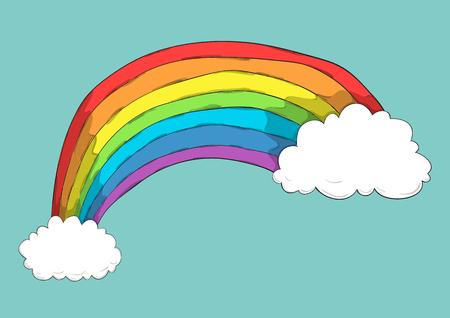 Cartoon wolken en regenboog, tekening van de hand vector en digitale illustratie gemaakt beeld zonder verwijzing.
