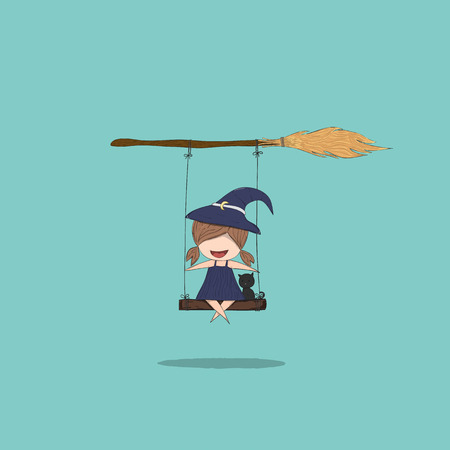 stupid body: Witch cute and black cat ride on the swinging with broom, halloween, drawing by hand vector and digital illustration created without reference image. Illustration