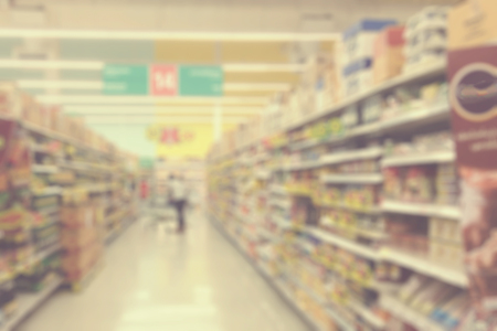 supermarket: Supermarkets, lens blur effect. Vintage filter.