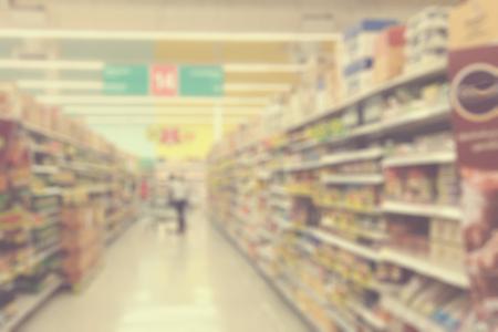 supermercado: Supermercados, lente efecto borroso. filtro de la vendimia.