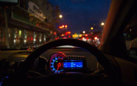 night traffic: Abstract blur city night traffic background. Stock Photo