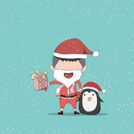 reference: Boy and Penguin cute Christmas character. drawing by hand vector and digital illustration created without reference image. Illustration