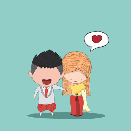 thai women: Cute cartoon Wedding couple men and women for thai dress, drawing by hand vector and digital illustration created without reference image. Illustration