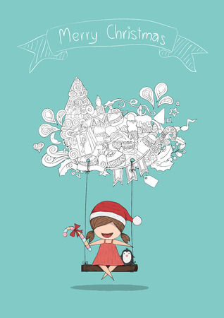 swinging: Girls santa and penguin swinging on a cloud icon christmas cute. Vector illustration, drawing by hand vector, size A4 Illustration