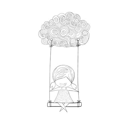 cartoon cloud: Cartoon girl swinging on a cloud art, drawing by hand vector