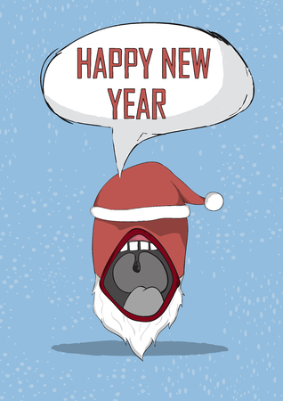munster: Happy new year devil mouth santa cute Christmas character. Vector illustration, drawing by hand vector