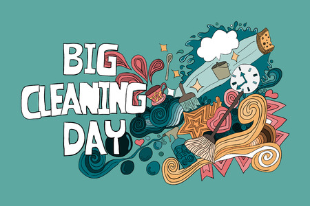 Cartoon vector hand drawn Doodle Big Cleaning Day Colorful illustration. Sketchy design background with objects and symbols.