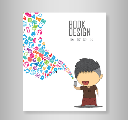 high end: Book male teens playing with phone happy template design thinking idea with social network icons. Illustration