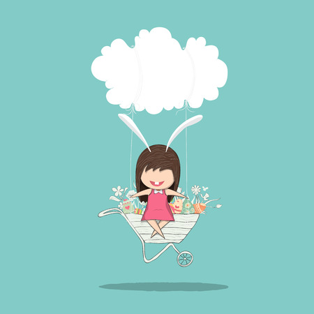 cartoon cloud: Cartoon girl rabbit happy easter swinging on a cart cloud with eggs, drawing by  drawing by  and digital illustration created without reference image. Illustration