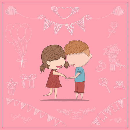 clasp: Cute cartoon doodle lovers a boy and a girl clasp. cute Valentines Day card, drawing by and digital illustration created without reference image.