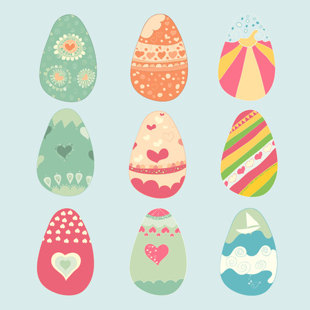 reference: Set of color Easter eggs. drawing by digital illustration created without reference image.