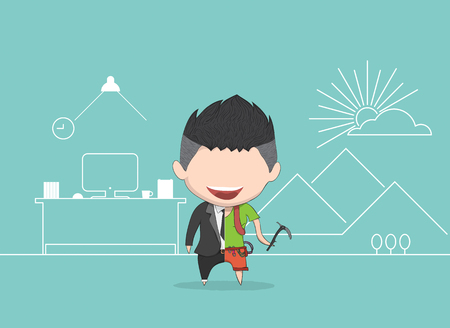 mountaineer: illustration of a happy face businessman. a concept of balancing personal life between office and holiday for mountaineer. drawing by  and digital illustration created without reference image. Illustration