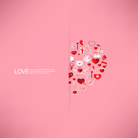 love declarations: Pink icon heart Valentines day card with sign on Icon love background Illustration