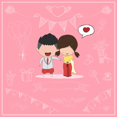 dress sketch: Cute cartoon Wedding couple men and women card style thai dress, cute Valentines Day card, drawing by  and digital illustration created without reference image. Illustration