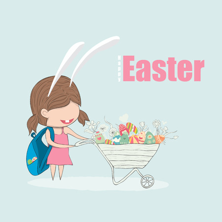 cute girl cartoon: Cartoon girl rabbit cart easter eggs. drawing by  digital illustration created without reference image. Illustration