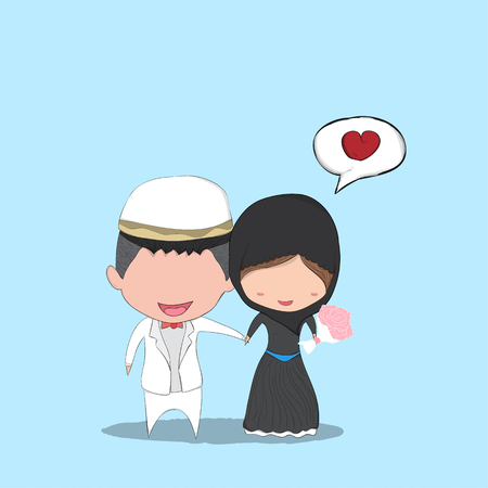 Cute cartoon Wedding couple men and women islam marriage, cute Valentines Day card, digital illustration created without reference image.