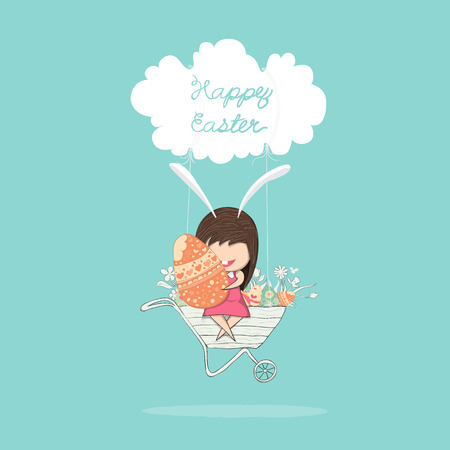 reference: Cartoon girl rabbit happy easter swinging cart on a cloud with eggs,digital illustration created without reference image.