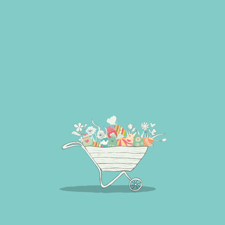 reference: Cart easter eggs. digital illustration created without reference image.