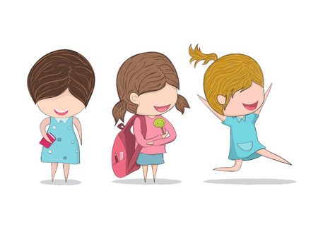 smart woman: Cute cartoon doodle pupils study and happy jumping kids. digital illustration created without reference image. Illustration