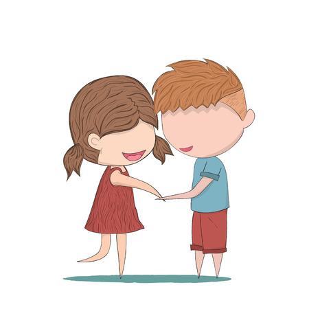 UOMO pioggia: Gli amanti Doodle cartone animato di un ragazzo e una ragazza clasp.cute carta di San Valentino, illustrazione digitale creato a immagine di riferimento senza.