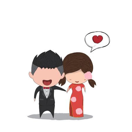 parejas de amor: par de hombres y mujeres linda de la historieta matrimonio chino, ilustraci�n digital de la tarjeta del d�a de San Valent�n linda que cre� la imagen de referencia sin. Vectores
