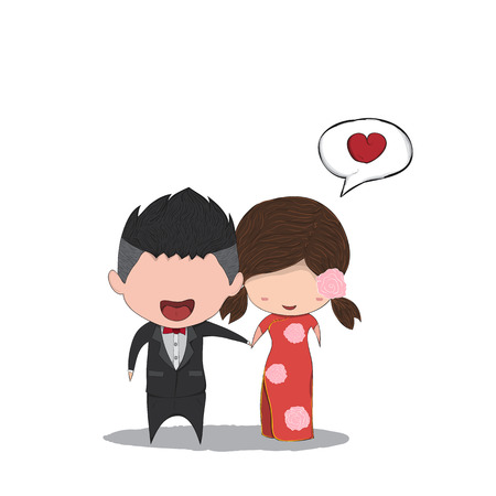 ragazza innamorata: Simpatico cartone animato di nozze paio uomini e le donne del matrimonio cinese, illustrazione digitale scheda di giorno di San Valentino carino creato immagine di riferimento senza.