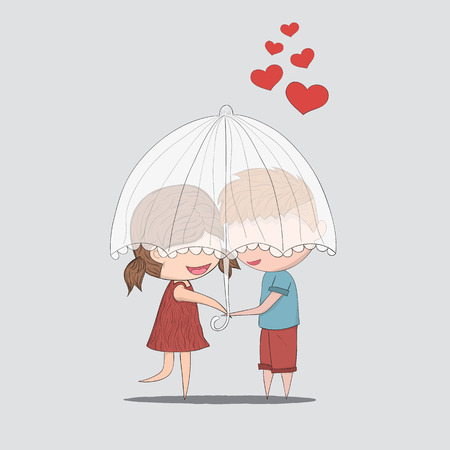 couple embrace: Cute cartoon doodle lovers a boy and a girl under umbrella.cute Valentines Day card Illustration