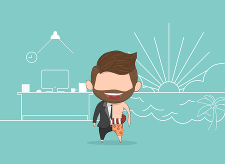 Vector illustration of a happy face businessman with beard. a concept of balancing personal life between office and holiday. drawing by hand vector and digital illustration created without reference image.
