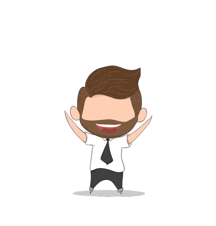 Businessman happy. Drawing by hand vector Illustration