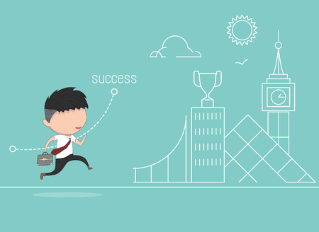 succes: Business run to success concept, Drawing by hand vector