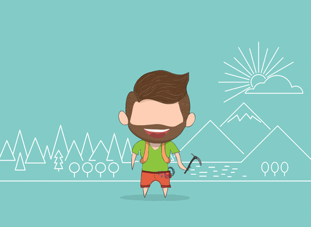 mountaineer: Vector illustration of a man with beard happy for mountaineer line. drawing by hand vector and digital illustration created without reference image.