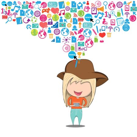 teenage girl happy: Teenage girl wearing hat playing with phone happy template design thinking idea with social network icons background. Drawing by hand vector. Social network background with media icons.