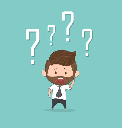 Confusing cute business man with question marks above his head, drawing by hand vector and digital illustration created without reference image.