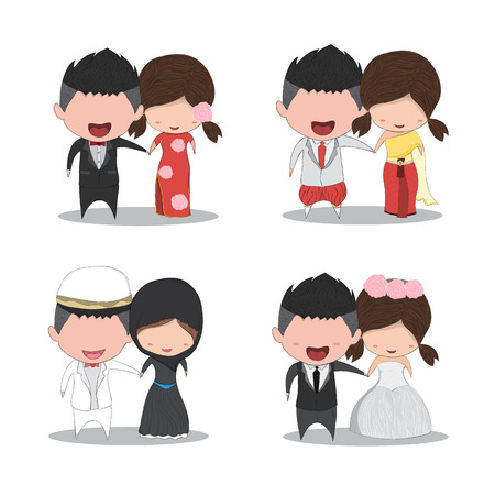 asian wedding couple: Set cute cartoon Wedding couple men and women marriage, cute Valentines Day card, drawing by hand vector and digital illustration created without reference image.