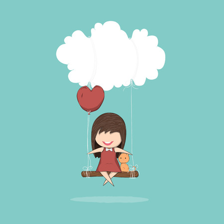 swinging: Cartoon girl and cat swinging on a cloud, drawing by hand vector Illustration